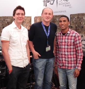 James Phelps mit Jonas und Marvin von HP-Fans.de